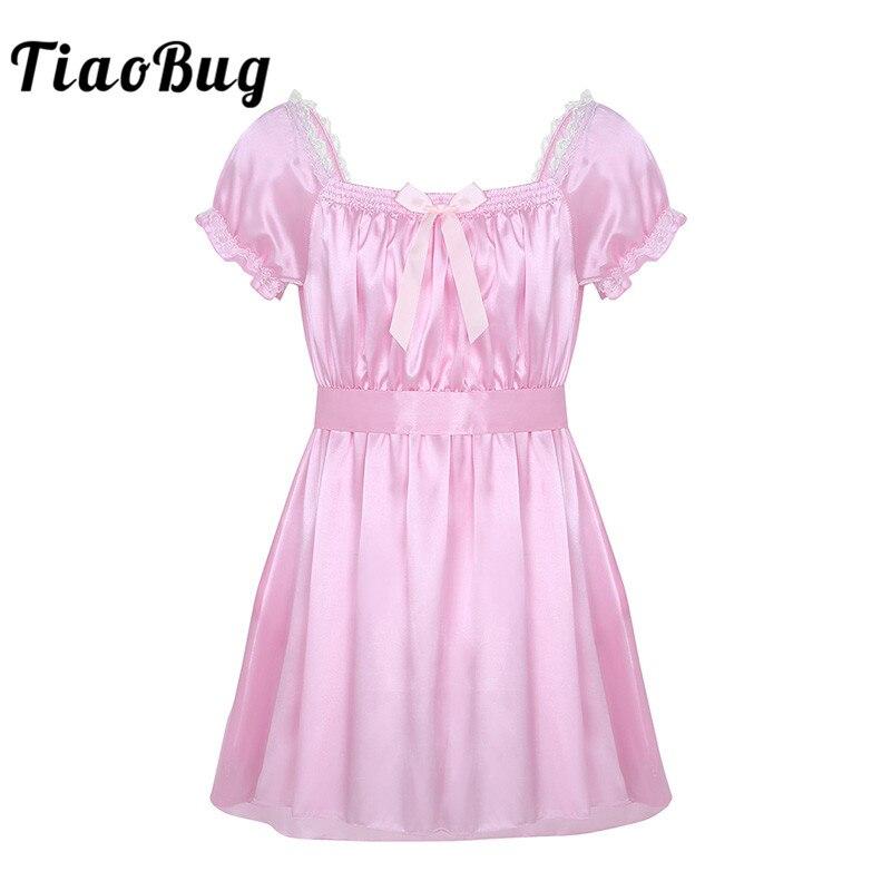 TiaoBug Men Short Sleeve Soft Satin Lace Crossdressing Sissy Lingerie Dress With Sash Nightwear Hot Sexy Gay Underwear Babydolls