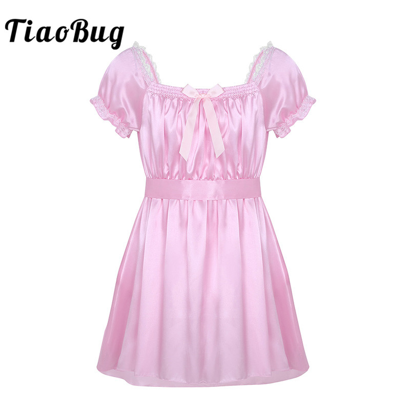TiaoBug <font><b>Men</b></font> Short Sleeve Soft Satin Lace Crossdressing Sissy <font><b>Lingerie</b></font> Dress with Sash Nightwear Hot <font><b>Sexy</b></font> Gay Underwear Babydolls image