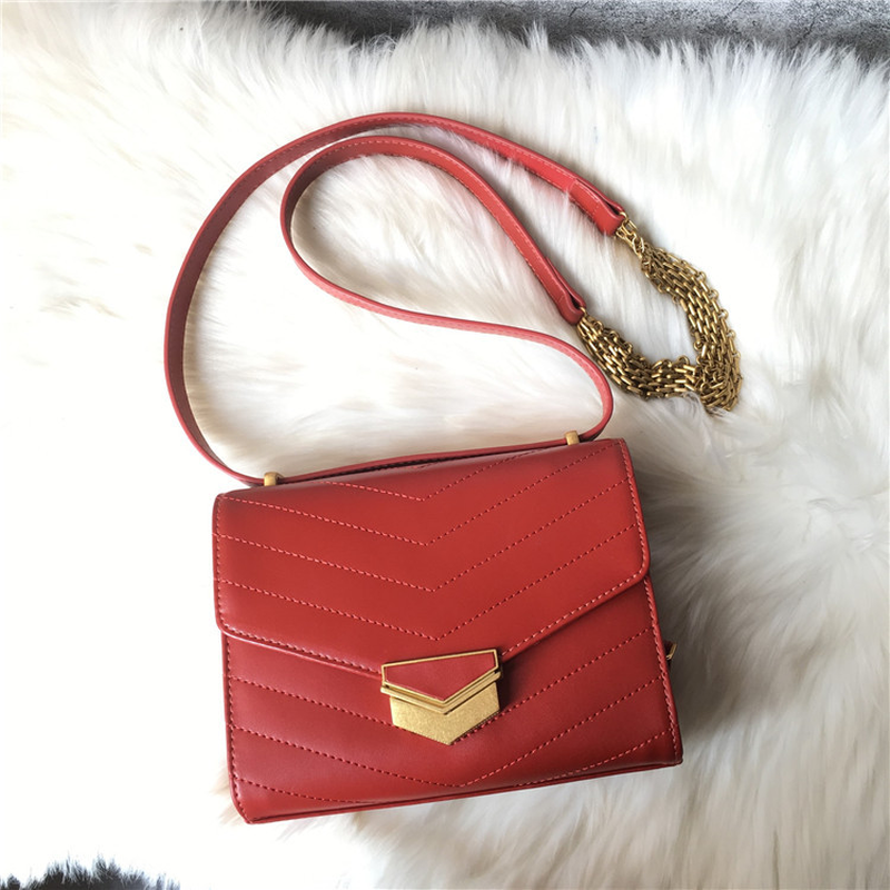 Genuine Leather Handbags for Women 2018 Female Package V Ling Car Line Small Bread One Shoulder Inclined Across Packages