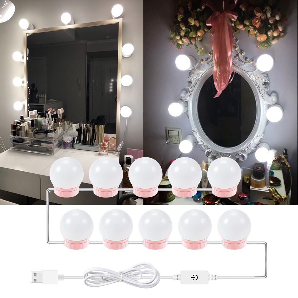 Led Makeup Vanity Mirror Light 12V Dressing Table Hollywood Wall Lamp Bathroom Bedroom Dimmable Cosmetic Make Up Mirror Bulb Kit