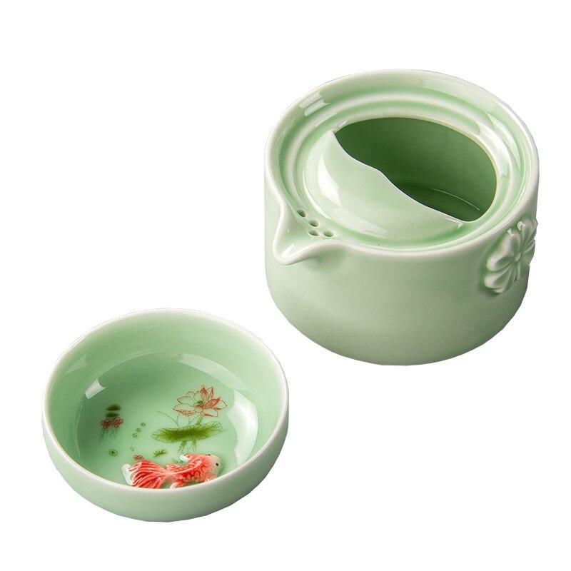 New Design Green Ceramic 3D Carp Gaiwan Tea Set  Celadon Elegant Kung Fu Teaset Include 1 Pot 1 Cup,Beautiful Easy Teapot Kettle