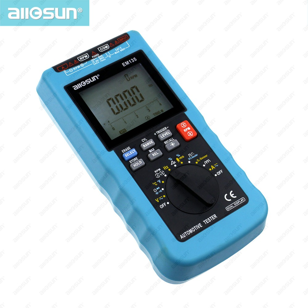 Digital Automotive Multimeter 20A ACA DCA/LCD Autorange Automotive Tester di O2-sensor Temp. RPM di Sosta Angolo all-sole EM135 Moderna