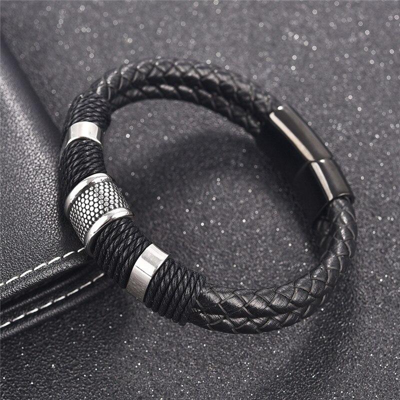 Jiayiqi 2017 de moda negro trenzado pulsera de cuero tejido de titanio de acero inoxidable pulsera hombres brazalete de la joyería de los hombres Vintage regalo