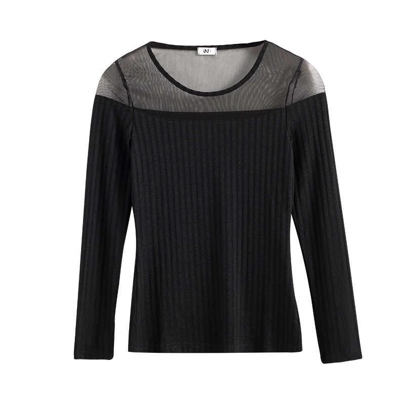 セクシーなレースの Tシャツ女性黒エレガントな女性トップ秋 2018 韓国新スタイルストリップ O-ネックシャツ固体の基本的な冬服