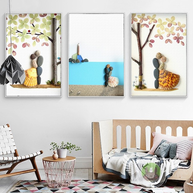 Ciottoli 3D Pittura Murale Moderna Home Decor Pittura Per Soggiorno Nordic  Dimensionale della Tela di Canapa Pittura Wall Art No Frame in Ciottoli 3D  ...