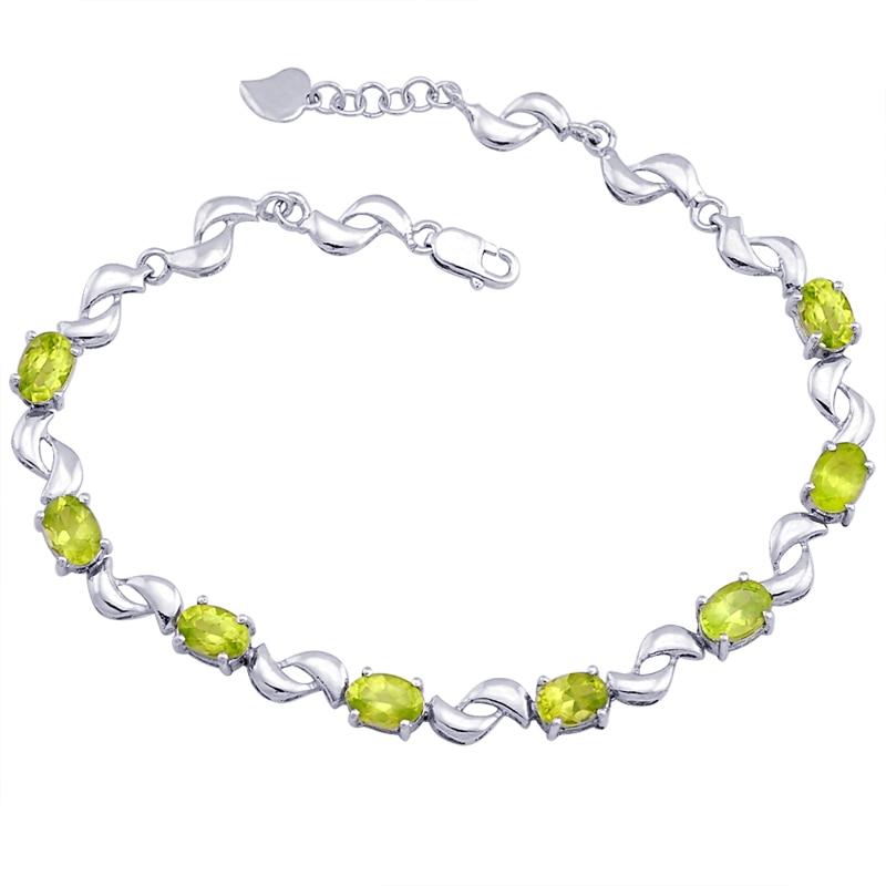 Péridot naturel Bracelet 925 en argent Sterling femme Fine élégante gemme verte bijoux fille pierre de naissance saint-valentin cadeau sb0017p