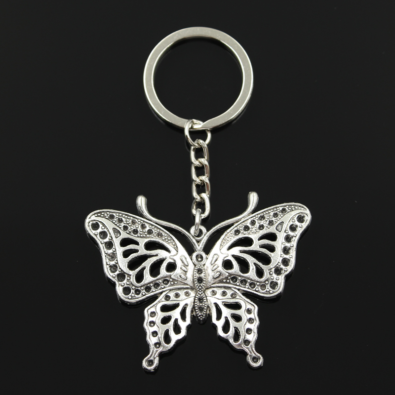 New Fashion Keychain 60*48mm hollow butterfly Pendants DIY Men Jewelry Car Key Chain Ring Holder Souvenir For Gift