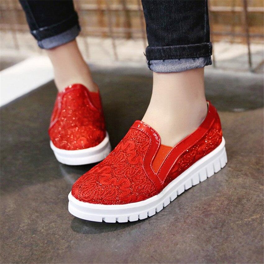 Chaussures rouge blanc Femme Casual Appartements De Richelieus Plus 41 34 Haute 43 Sur Taille Femmes Des Mocassins Or 42 Glissement Qualité 40 Plates La D'été gSq4xE