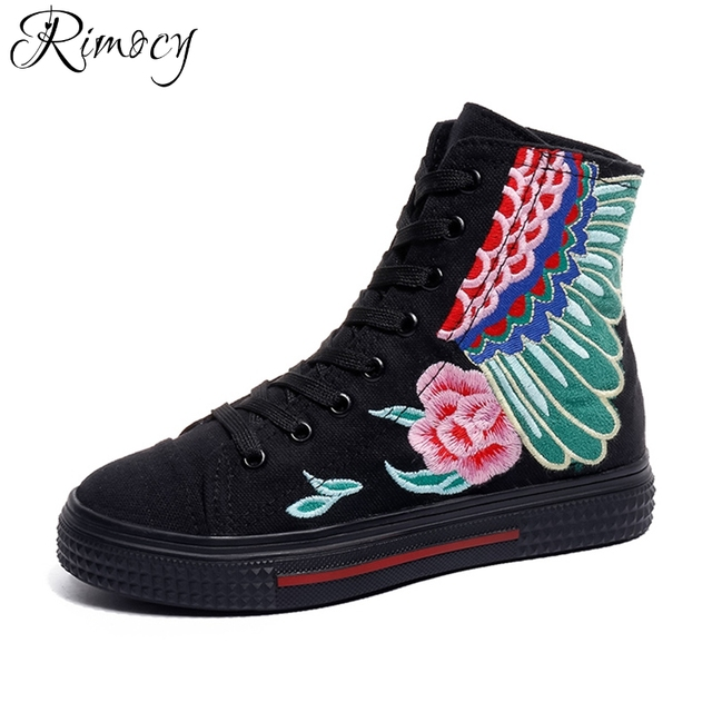 e81c1d1845fd Rimocy spring lace up vintage embroidery floral canvas women 2018 summer  new fashion design red black platform shoes woman flats
