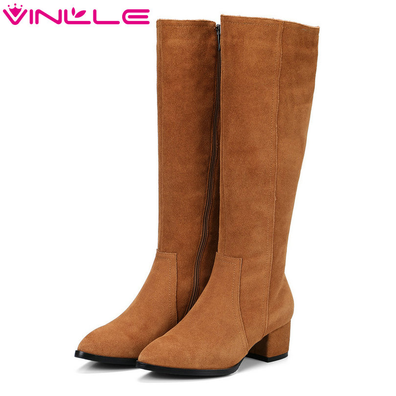 VINLLE 2018 Women Boots Knee High Boots Square Med Heel Zipper Cow Suede Brown Pointed Toe Ladies Motorcycle Shoes Size 34-39 vinlle 2018 women ankle boots shoes buckle autumn winter square high heel pointed toe zipper ladies motorcycle shoes size 34 42