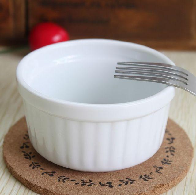Set Of 4 White Ceramic Ramekin Baking Bowl Pudding Bowl