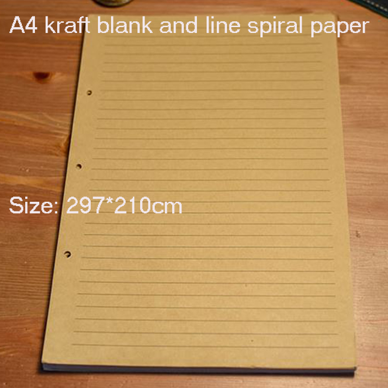 Notebook A4 inside page Spiral 60 sheets 3 hole filler paper Blank and line kraft paper Office and school supplies writing pads standard b5 spiral notebook inside 60 pcs quality kraft paper page 9 hole on paper loose leaf page for genuine leather notebook