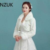 NZUK için Uzun Kollu ile Beyaz Kısa Düğün Ceket Sarar gelin Kış Resmi Elbise Pelerin Sıcak Pelerinler Beyaz Faux Kürk Bolero