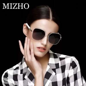 Image 2 - MIZHO 2020 marka miedź Metal plac spolaryzowane okulary dla kobiet lustro niebieski luksusowe stylowe akcesoria optyczne Steampunk wizualne óculos
