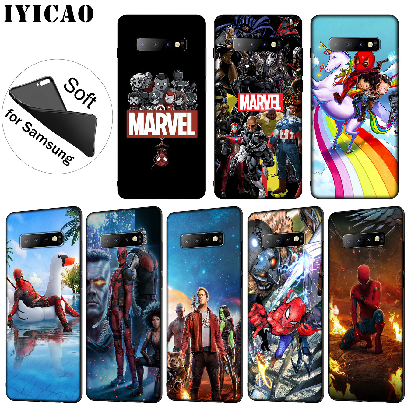 IYICAO Marvel The Avengers Jorker Dead Pool Soft Silicone Phone Case for Samsung Galaxy S10 S9 S8 Plus S6 S7 Edge S10e E Cover