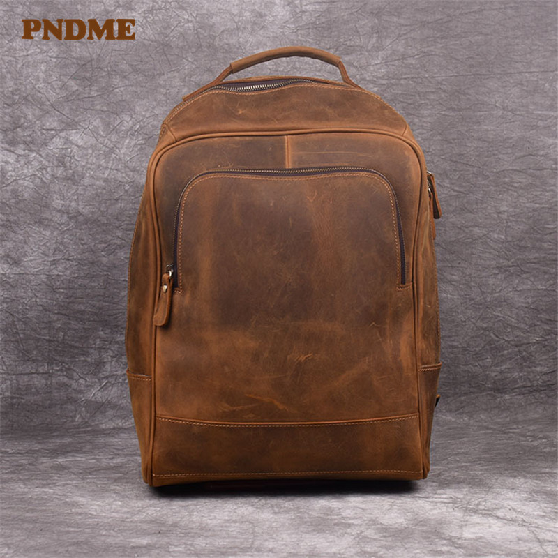 PNDME retro simple genuine leather mens and womens backpack cowhide leather computer bag large capacity shoulder travel baPNDME retro simple genuine leather mens and womens backpack cowhide leather computer bag large capacity shoulder travel ba