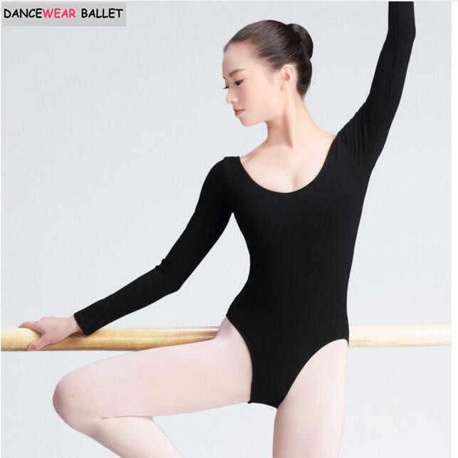 cde8fa41b1d9 ... Women Black Long Sleeve Leotard Sexy Ballet Dancewear Adult Cotton  Spandex Leotards Bodysuit Gymnastics Costumes Unitard ...