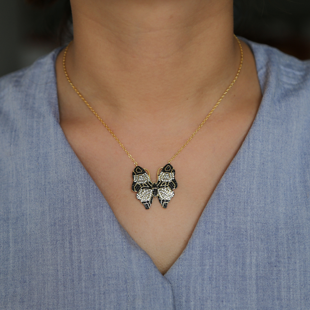 Bohemia style New Fashion Fine Jewelry Dazzling Gold Color Crystal CZ beautiful butterfly Necklaces & Pendants For Women