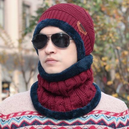 7fb7c2203be New Fashion Hats Men Winter Wool Ski Hat scarf Set Head hooded Cap ...