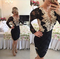 2016 Black Lace Cocktail Dresses Long Sleeve Robe De Cocktail Appliques Beaded See Though Sexy Short Cocktail Dresses