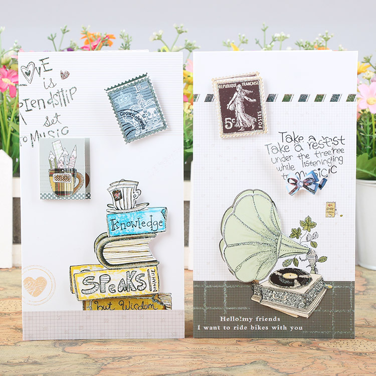 Free ship!1lot=24pc! Stamp message card /Blessing 3D business card ...