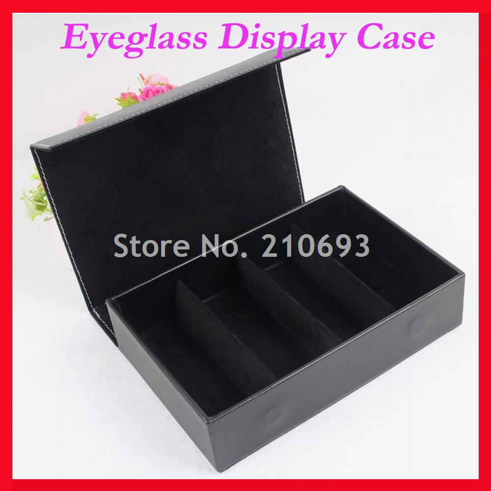 4E High-grade Pu Eyeglass Eyewear Sunglasses Display Case Glasses Storage box Tray Hold 4pcs of sunglass free shipping