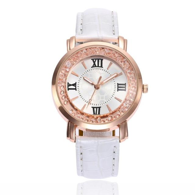 Luxury Watches Women Fashion Quartz Wrist Ladies Watch Exquisite Rhinestone Leat