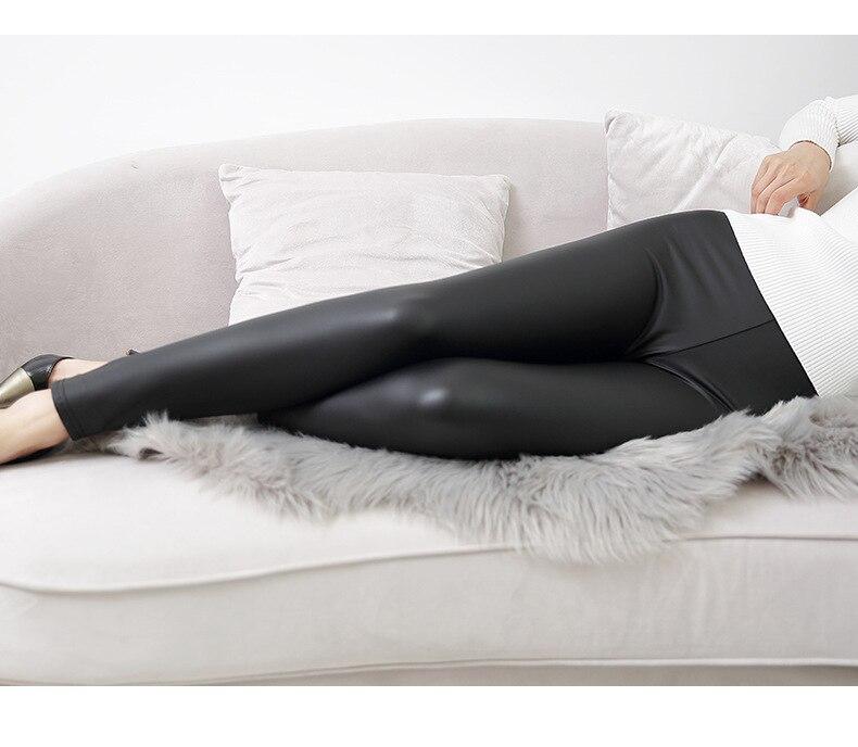 Everbellus High Waist Leather Leggings for Women Black Light&Matt Thin&Thick Femme Fitness PU Leggings Sexy Push Up Slim Pants 2