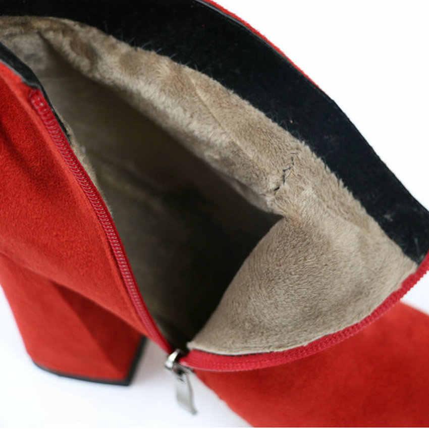 ESVEVA 2020 Kadın Çizmeler Akın yarım çizmeler Yuvarlak Ayak Kış Ayakkabı Kare Topuklu Bayanlar Parti Batı Süet Sonbahar Çizmeler Boyutu 34 -43