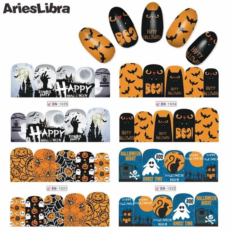 AriesLibra เล็บรูปลอก Halloween Series สติ๊กเกอร์เล็บสติ๊กเกอร์ Water Transfer สติกเกอร์ DIY เล็บตกแต่งความงามเครื่องสำอางค์ wraps