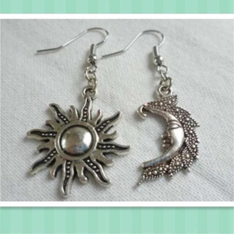 Boucles d'oreilles soleil et lune, bijoux soleil et lune, bijoux wiccan, boucles d'oreilles soleil, lune