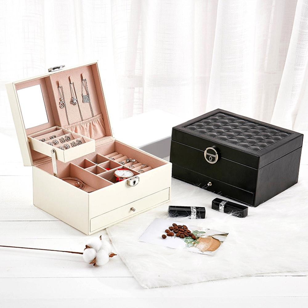 Large Fashion Design Leather Jewelry Box Jewelry Display Case Package Storage Large Space Jewelry Ring Necklace Bracelet makeup organizer box
