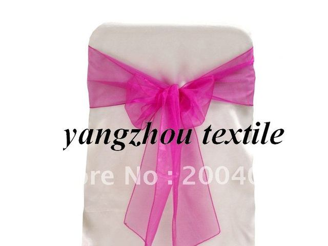 hot pink  organza sash/organza chair cover sash/chair bow