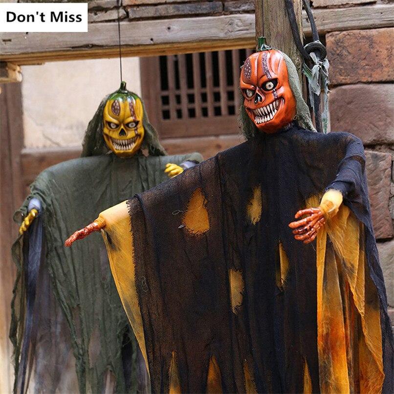 Halloween horreur suspendus fantôme grande taille suspendus citrouille fantôme crâne jouets électriques yeux lumineux horreur voix hantée maison accessoires