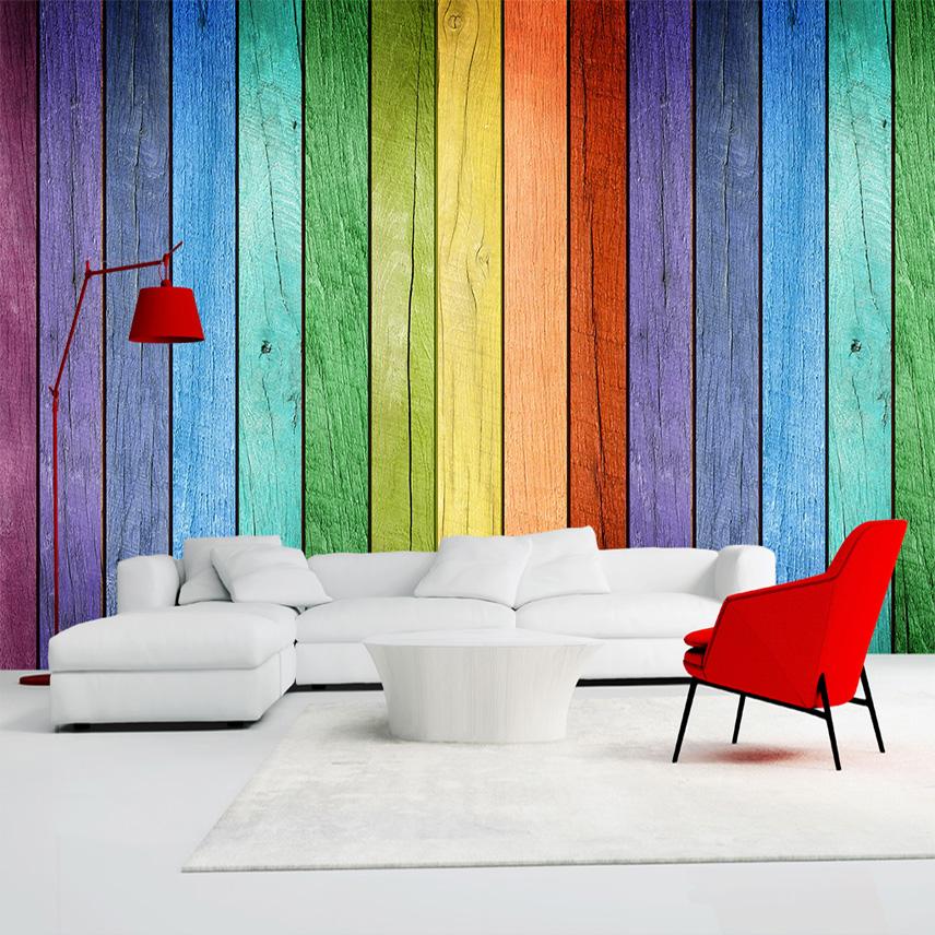 rainbow color tablero de madera papel pintado moderno arte decoracin interior de la pared pintura mural