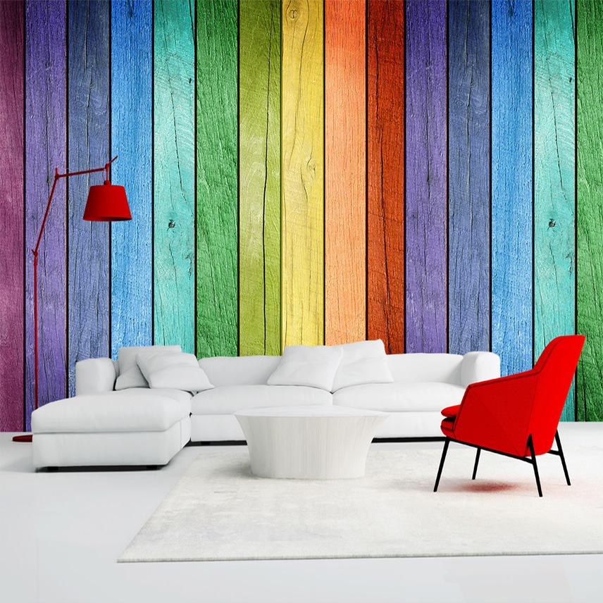 Rainbow colored wood board wallpaper modern art interior for Interior wall art