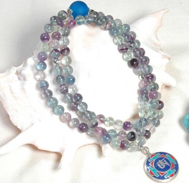 Tibétain Mala Fluorite 108 perles Mala tibétain bouddhiste symboles OM pendentif collier