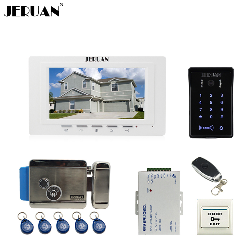 JERUAN luxury 7`` Video Intercom Video Door Phone System new RFID Access Waterproof Touch key Camera+Remote control Unlocked jeruan 7 inch video door phone intercom system kit rfid touch key waterproof access camera 180kg magnetic lock remote control