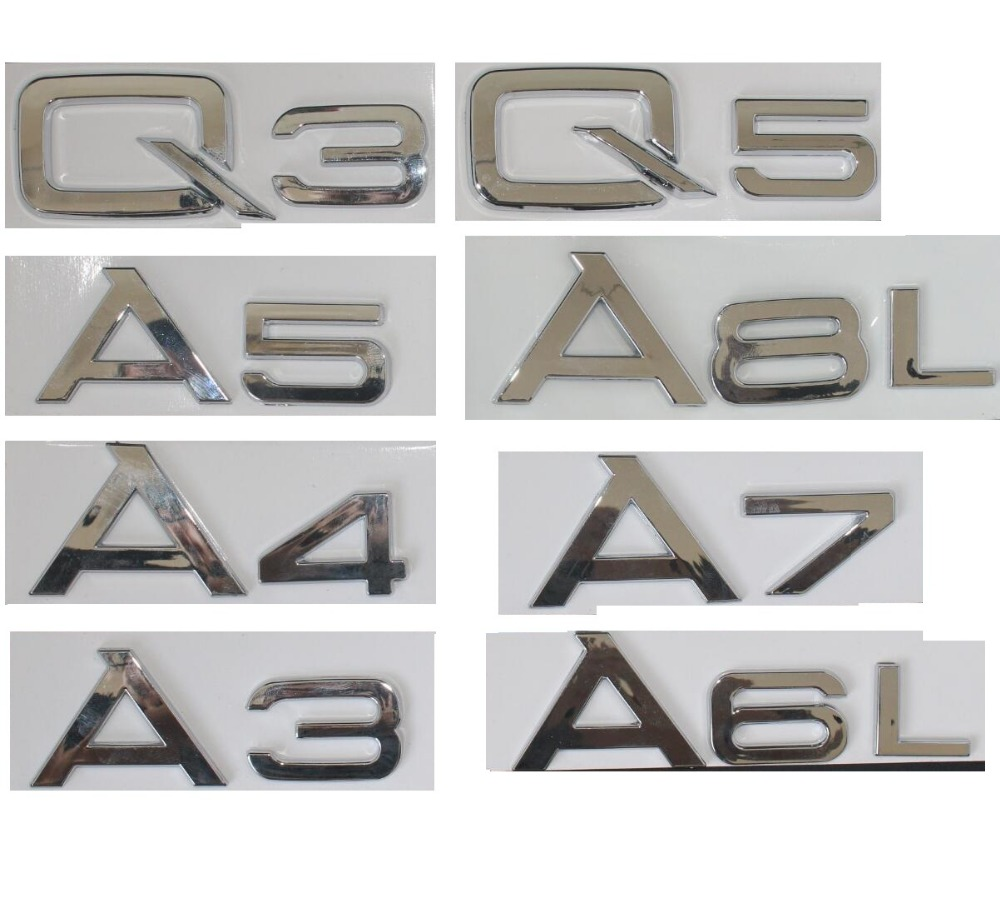 Chrome Shiny Silver Rear Trunk Letters Number Badge Emblem Emblems for Audi A3 A4 A5 A6 A7 A8 A4L A6L A8L Q3 Q5 Q7 амортизаторы vauglin a4 a4l a6 a6l q5 q7 tt 100 200