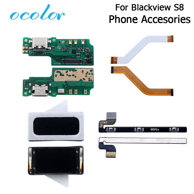 Ocolor For Blackview S8 USB Plug Charge Board Earpiece Power Volume Button Cable For Blackview S8 Motherboard Cable FPC Cable