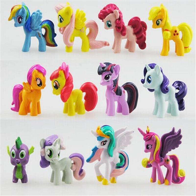 12 հատ / հավաքածու 3-5 սմ Cute Pvc ձի - Խաղային արձանիկներ - Լուսանկար 3