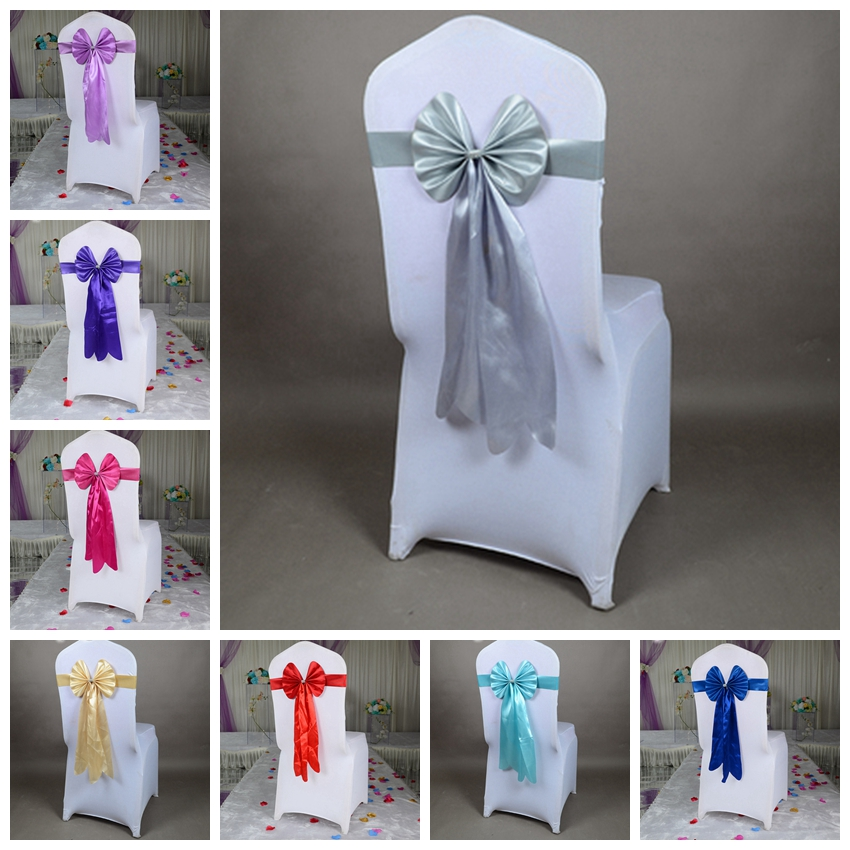 14 Colours Spandex Chair Sash Lycra Long Tail Ready Made Bow Tie Wedding Chair Decoration Chair Bow Tie Wholesale Lycra Sash