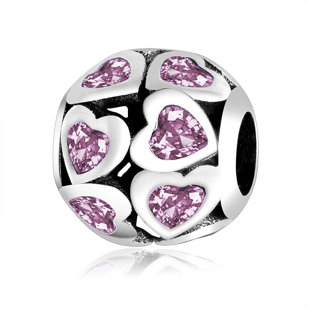 Fit Original Pandora Charms 100% 925 Silver Beads Charm Pink Heart Zircon Encantos Plata 925 Valentines Day DIY Gift Berloque