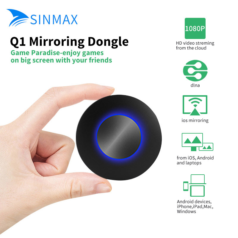 Q1 Mirroring Dongle OTA TV Stick Dongle Better Than EasyCast HDMI AV Output Wi-Fi Display Receiver DLNA Airplay 1080P Full HD