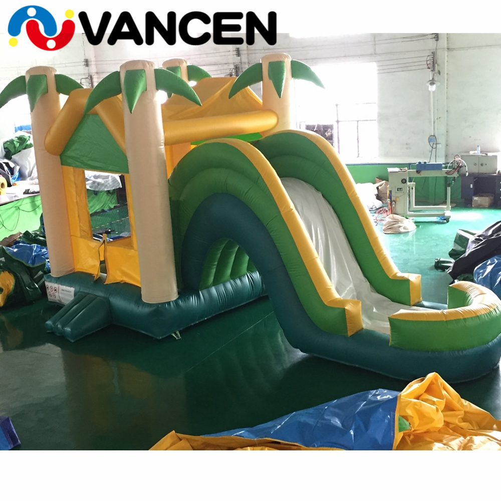 VANCEN cute mini castle inflatable bouncer air jumping house with trees free air blower inflatable castle slide for kids