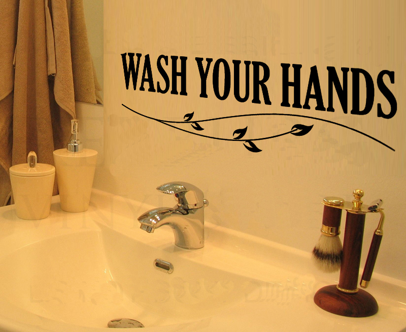 Wash Your Hands home decoration wall art decals quote kitchen cabinet  stickers bathroom wall tile stickers