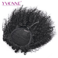 Yvonne Brazilian Kinky Curly Ponytail Human Hair Clip In Extensions Remy Hair Natural Color 1 Piece