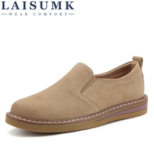 LAISUMK 2019 Spring Women Flats Sneakers Shoes Slip On Flat Loafers Suede Leather Handmade Boat Black Oxfords