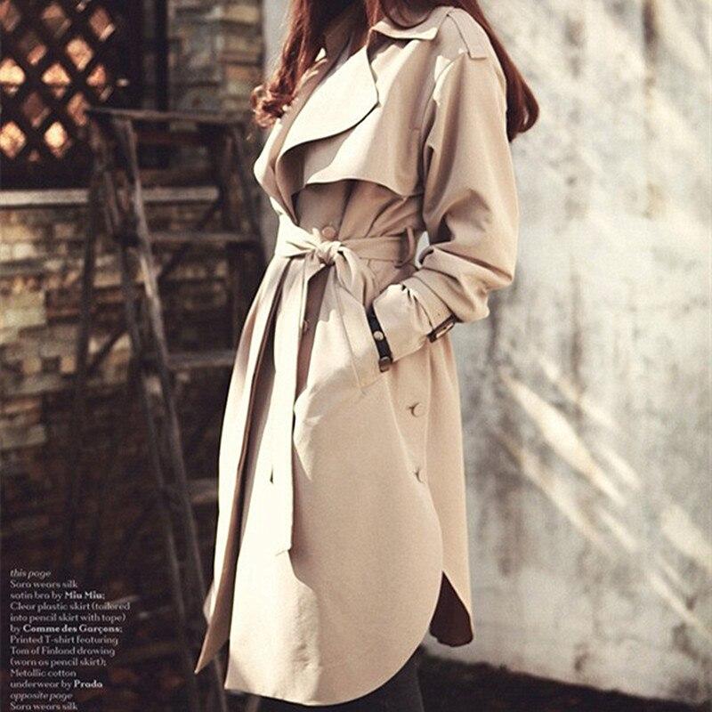 Bouton vent Femmes coat Solide 2019 Ceinture Vêtements Léger Femelle Nouveau Décontracté Coupe Feminino Trench Banlieue Long Casaco Couleur Khaki Ac002 De b76yfg