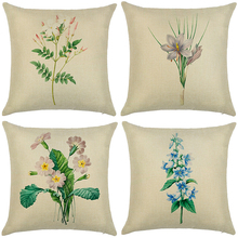 Morden Simple flowers plants Cotton Linen home decorative cushion cover  Geometric Beige Printed pillow case Square pillowcase